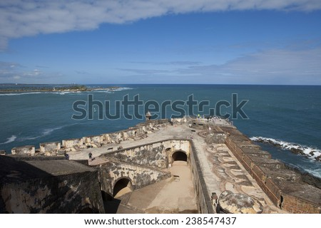 overview of the fort at El Morro National Park, Puerto Rico - stock photo