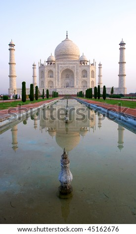 Overview of the Taj Mahal and garden, Agra, India - stock photo
