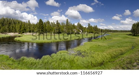 overview of the Yellowstone River in Yellowstone National Park in Wyoming in the United States of America - stock photo