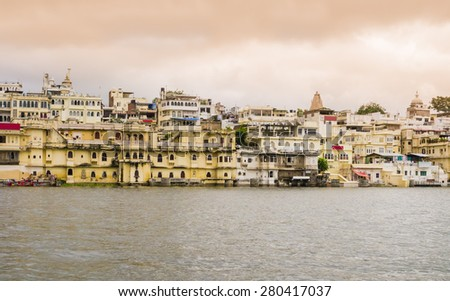Overview of Udaipur at sunset, the Venice of the East, Rajasthan, India  - stock photo
