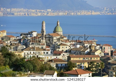 overview of Vietri sul Mare with cathedral - stock photo