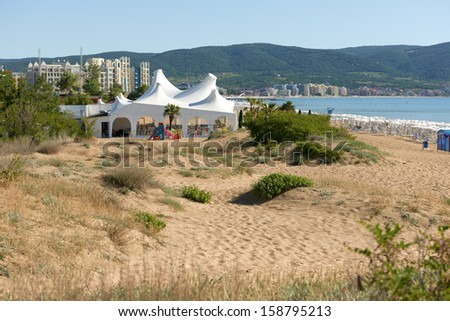 Overview on the largest holiday resort on Bulgarian Black sea shore, Sunny Beach, Bulgaria - stock photo