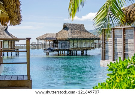 Overwater Bungalow, Moorea, French Polynesia - stock photo