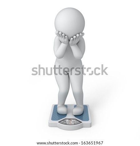 overweight, 3d human and scales. image with a work path - stock photo