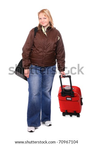 Overweight girl going on vacation with her suitcase. - stock photo