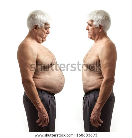 Overweight man and regular weight man over white background - stock photo