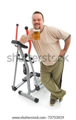 Overweight man having a beer after working out - isolated with a bit of shadow - stock photo
