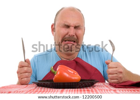 Overweight man looking very unhappy with his diet and bursting into tears - stock photo