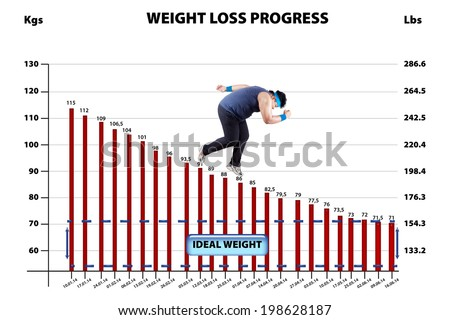 Overweight man with a diagram report of loss weight - stock photo