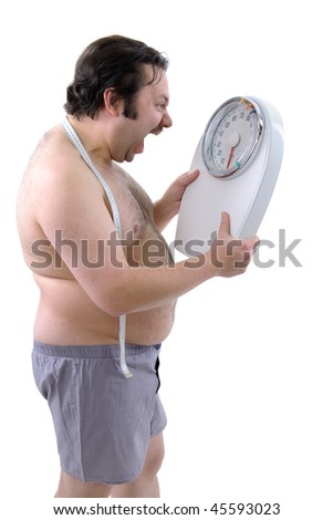 Overweight man with the weight scale - stock photo