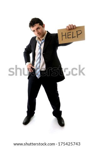 overworked business Man in Stress wearing a messy Suit holding a help sign on a white background  - stock photo