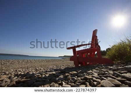 Owen Sound Ontario Georgian Bay chairs Canada - stock photo