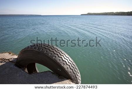 Owen Sound Ontario Georgian Bay tire dock Canada - stock photo