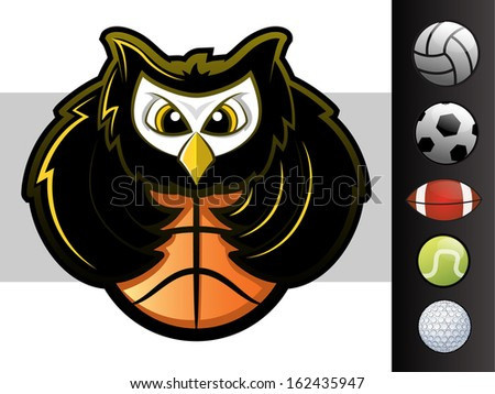 Owl sports team mascot with various sport ball icons - stock photo