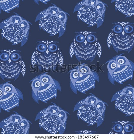 owls pattern background - stock photo