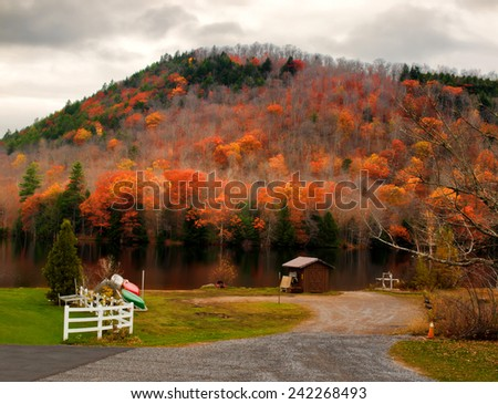 Oxbow Lake in the Adirondack Mountains - stock photo