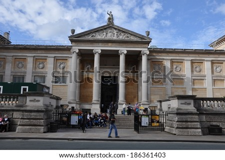 OXFORD, ENGLAND - SEPT 10: Ashmolean Museum of Art and Archaeology in Oxford, England, as seen on Sept 10, 2011. It is the world's first university museum. - stock photo