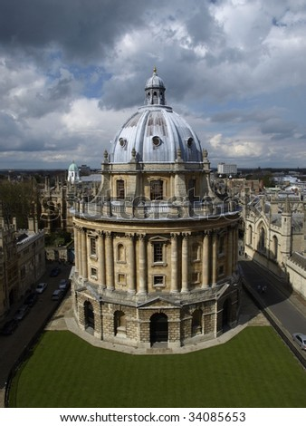 Oxford's Radcliffe Camera viewed from University Church - stock photo