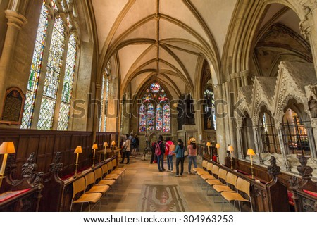 OXFORD, UK - JULY 19, 2015: Interior of the cathedral of Christ Church, University of Oxford, England. It is the college chapel for Christ church. - stock photo