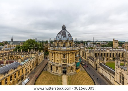 OXFORD, UK - MAY 19, 2015: The Radcliffe Camera is a building that houses the Radcliffe Science Library in the University of Oxford, England. - stock photo