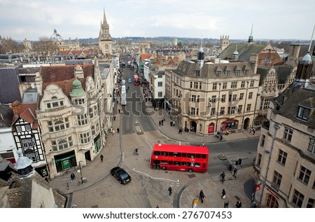 Oxford, United Kingdom - March 25, 2015 - Picture taken from Carfax tower on the corner of St. Aldates, Cornmarket Street, High Street and Queen Street, Oxford, Oxfordshire, England, March 25, 2015. - stock photo