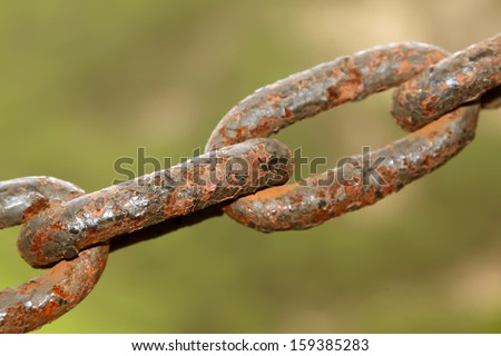 oxidation rusting chain, give a person the feeling of nostalgia  - stock photo