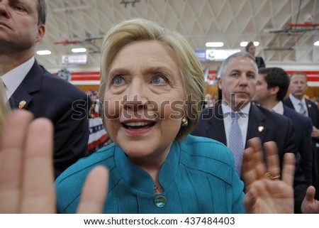 "OXNARD, CA - JUNE 04, 2016: former Secretary of State Hillary Clinton and Democratic Presidential Candidate meets supporters at a ""Get out the vote"" rally at Hueneme High School in Oxnard, California. - stock photo"