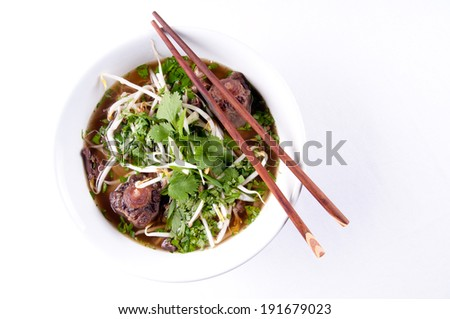 oxtail pho soup, a vietnamese classic meal - stock photo