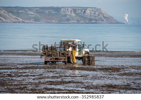 OXWICH BAY-UK ,OCTOBER 18 2015 : A fisherman loads up his lobsterpots onto a trailer at low tide - stock photo