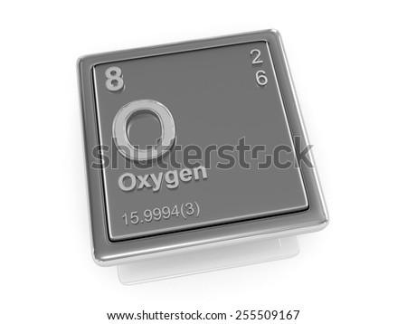 Oxygen. Chemical element. 3d - stock photo