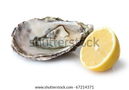 Oyster and lemon on white background - stock photo