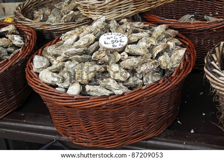 Oyster market in Cancale, France - stock photo