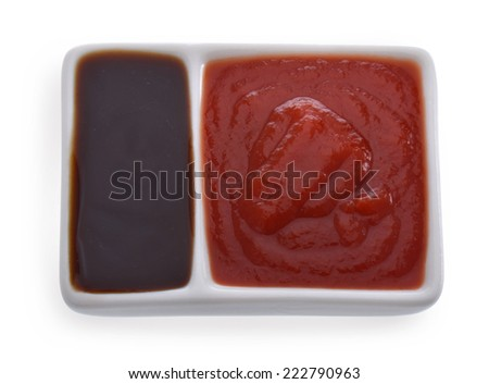 Oyster sauce and  ketchup - stock photo