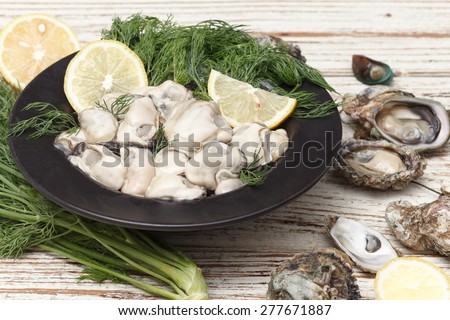 Oyster seafood lemon fresh mussel asia appetizer luxury - stock photo