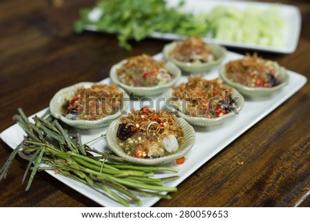 oyster thai spicy salad - stock photo