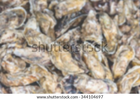 Oysters market in Cancale, Brittany, France. Defocused background - stock photo