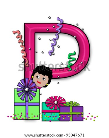 """P, in the alphabet set """"Birthday Letters"""", is surrounded by colorfully wrapped presents complete with bows.  Woman hides behind presents and peeks out pretending surprise. - stock photo"""