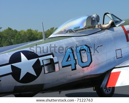 P-47 Thunderbolt Fighter airplane WWII - stock photo