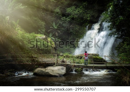 Pa Dok Siew Waterfall beautiful waterfall in Chiang mai northern thailand - stock photo
