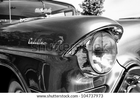 "PAAREN IM GLIEN, GERMANY - MAY 26: A fragment of the car Cadillac 60 Special (Black and White), ""The oldtimer show"" in MAFZ, May 26, 2012 in Paaren im Glien, Germany - stock photo"