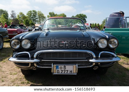 """PAAREN IM GLIEN, GERMANY - MAY 19: American iconic sports car Chevrolet Corvette (First generation-C1), """"The oldtimer show"""" in MAFZ, May 19, 2013 in Paaren im Glien, Germany - stock photo"""