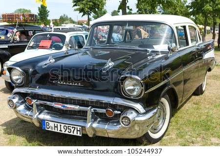 """PAAREN IM GLIEN, GERMANY - MAY 26: Car Cadillac Sixty Special, """"The oldtimer show"""" in MAFZ, May 26, 2012 in Paaren im Glien, Germany - stock photo"""
