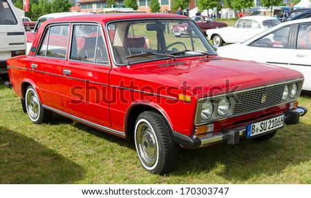 PAAREN IM GLIEN, GERMANY - MAY 19: Soviet medium-sized family car, 4-door sedan, VAZ-2106, The oldtimer show in MAFZ, May 19, 2013 in Paaren im Glien, Germany - stock photo