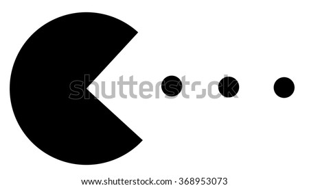 Pac-Man eating balls black and white thematic illustration, retro games review - stock photo