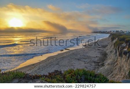 Pacific coast near Santa Barbara, California. - stock photo