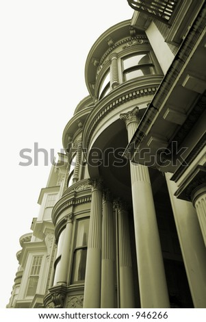 Pacific Heights Victorian Sepia - stock photo