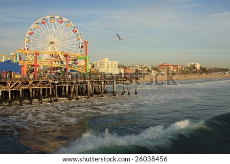 Pacific Ocean and the Santa Monica Pier in Southern California - stock photo