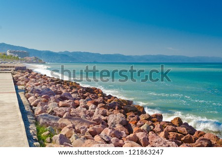 Pacific ocean at sunny day in Puerto Vallarta, Mexico - stock photo