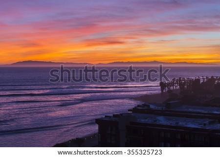 Pacific ocean sunset in Ventura, California. - stock photo