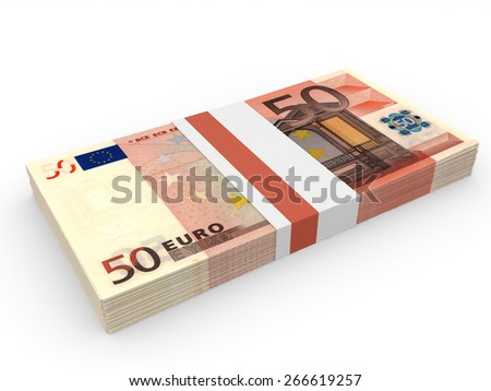 Pack of banknotes. Fifty euros. 3D illustration. - stock photo